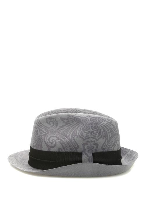Gri Şal Desenli Bantlı Erkek Yün Şapka