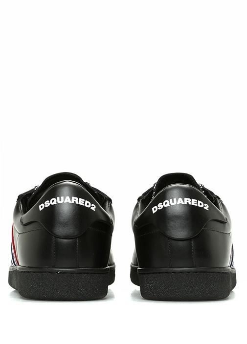 Siyah Şerit Logolu Erkek Deri Sneaker