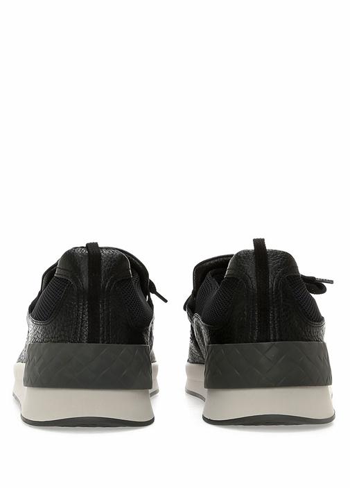 Siyah Örgü Dokulu Erkek Deri Sneaker