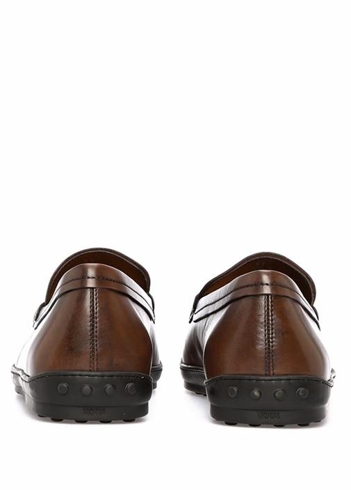 Kahverengi Bantlı Erkek Deri Loafer