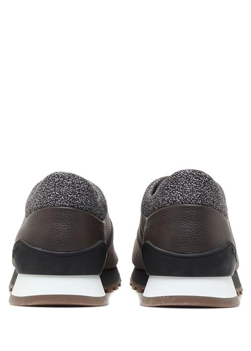Kahverengi Deri Detaylı Erkek Süet Sneaker