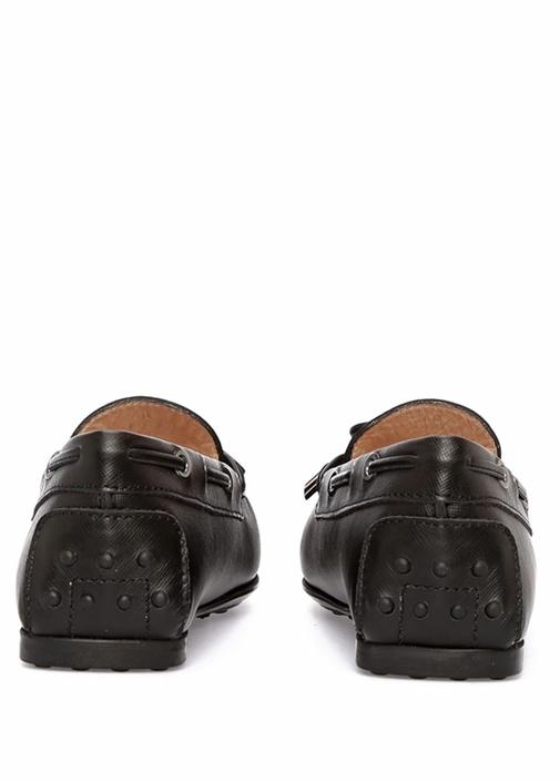 Siyah Bağcık Detaylı Kadın Deri Loafer