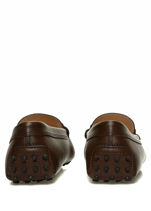 Kahverengi Silver Logolu Kadın Deri Loafer