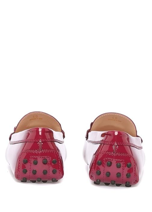 Bordo Metal Logolu Kadın Deri Loafer