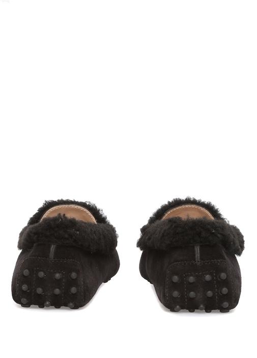 Siyah Gommino Logolu Kadın Süet Loafer