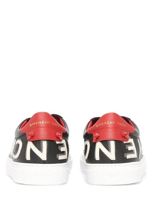 Siyah Dokulu Logolu Erkek Deri Sneaker