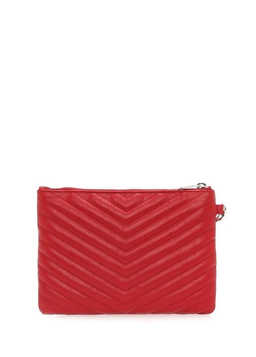 Monogram A5 Kırmızı Logolu Kadın Deri El Portföyü