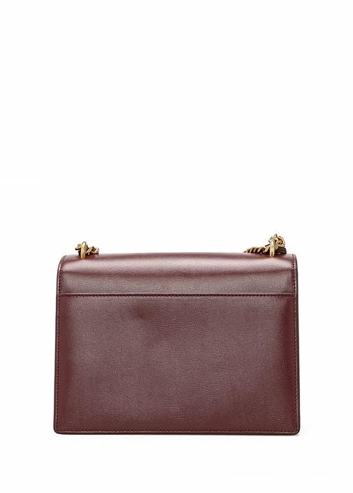 Medium Sunset Bordo Logolu Kadın Deri Çanta