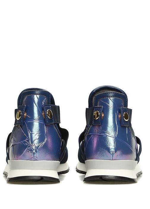Lacivert Pencereli Metalik Renkli KadınSneaker