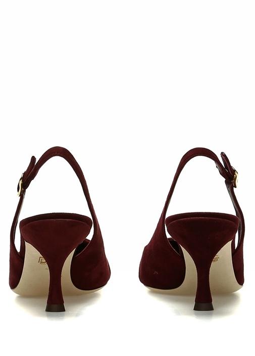 Bordo Taşlı Tokalı Süet Topuklu Ayakkabı