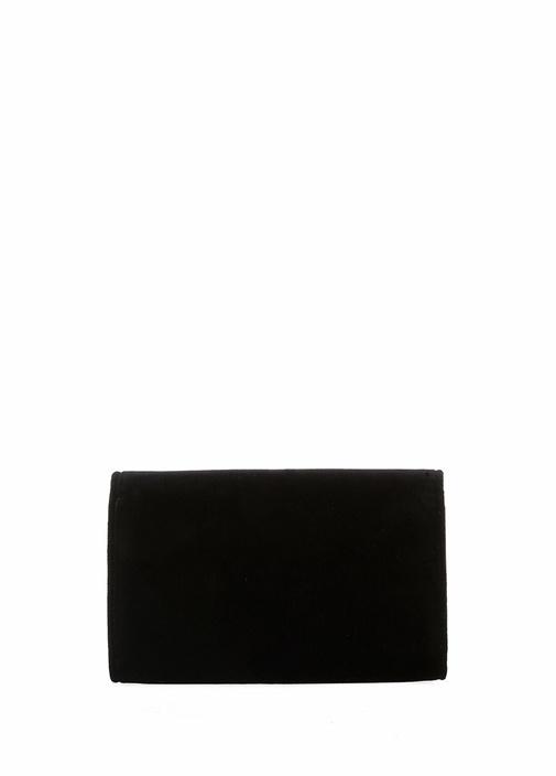 Siyah Logo Detaylı Kadife El Portföyü