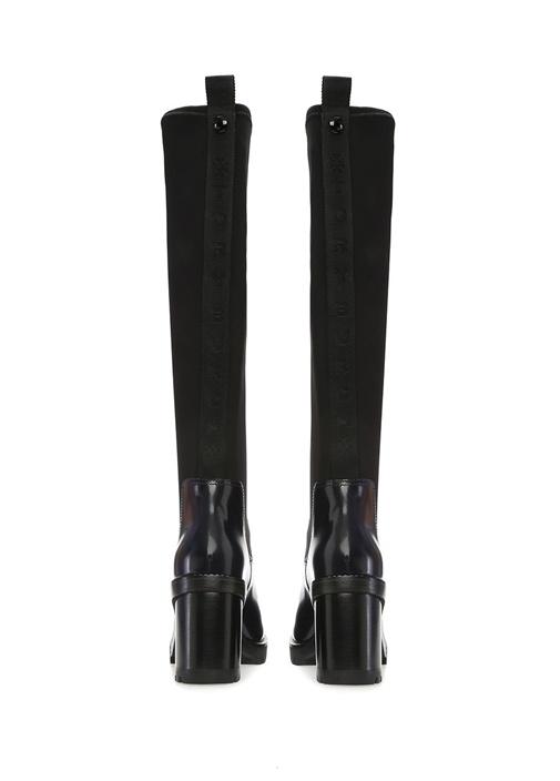 Preston Lacivert Kadın Topuklu Neopren Deri Çizme