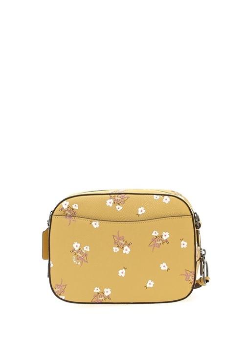 Sarı Çiçek Baskılı Logolu Kadın Çanta