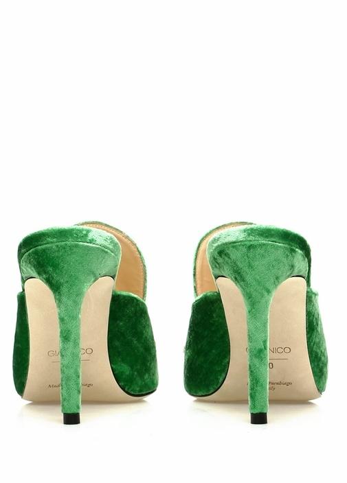 Daphne Yeşil Taş İşlemeli Kadın Saten Terlik