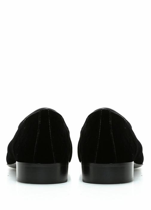 Siyah Silver Logolu Erkek Kadife Slipper