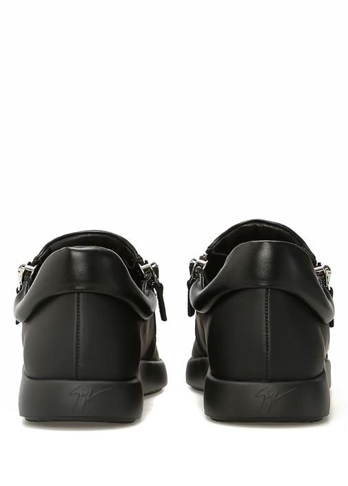 Giuseppe Zanotti Siyah ERKEK  Siyah Fermuarlı Erkek Deri Sneaker 526203 Beymen