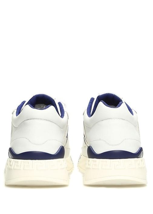 Beyaz Mavi Fırça Darbeli Logolu Erkek Deri Sneaker