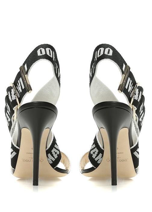 Bailey Siyah Şerit Logo Baskılı Kadın Sandalet