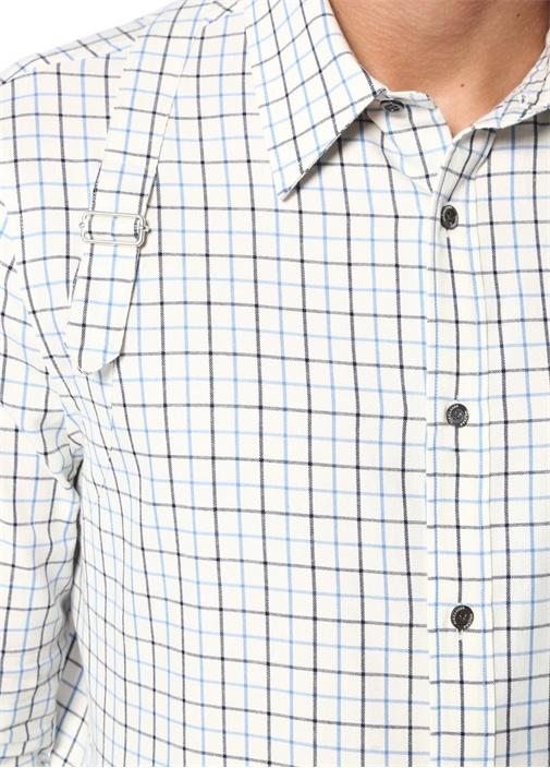 Mavi Beyaz İngiliz Yaka Ekoseli KemerliGömlek