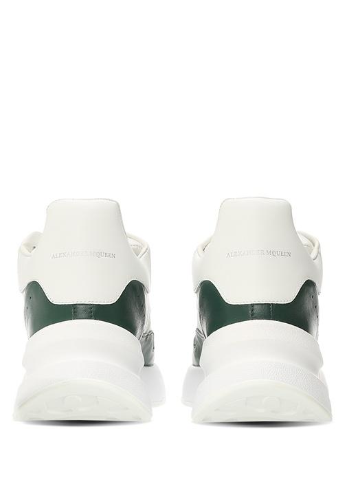 Oversize Runner Beyaz Yeşil Erkek Deri Sneaker