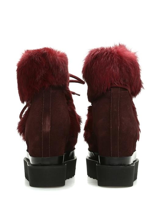 Bordo Gizli Topuklu Kadın Süet Kar Botu