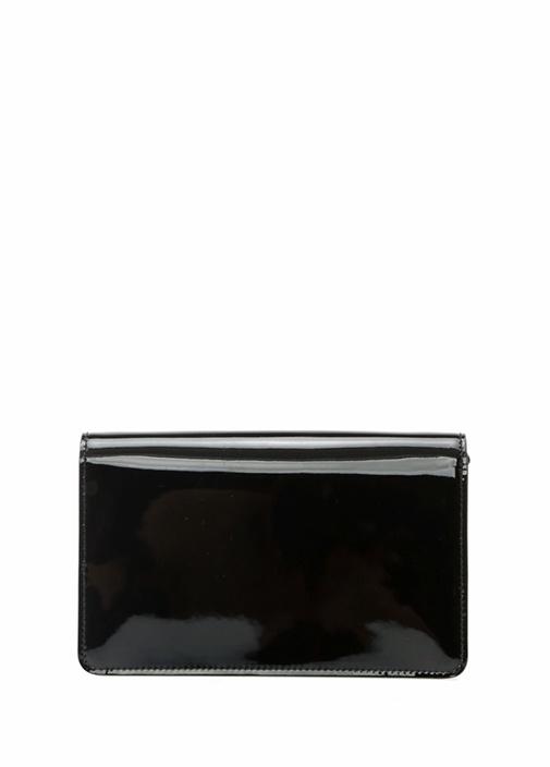 Siyah Taşlı Logolu Kadın Rugan Çanta