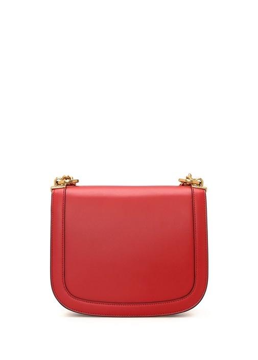 Kırmızı Gold Logolu Kadın Deri Omuz Çantası