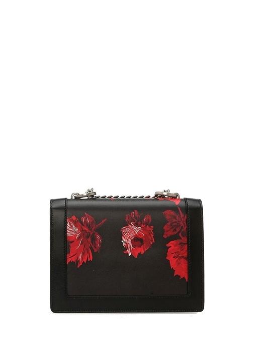 Severine Siyah Kırmızı Çiçekli Kadın Deri Çanta