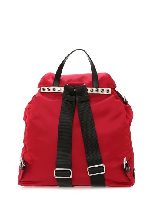 Kırmızı Troklu Logolu Kadın Sırt Çantası