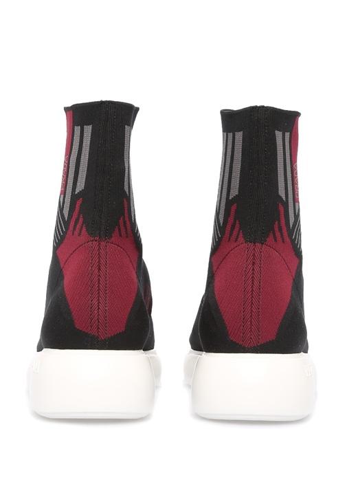 Siyah Logo Jakarlı Çorap Formlu Kadın Sneaker