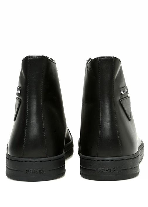 Siyah Erkek Bilekli Deri Sneaker