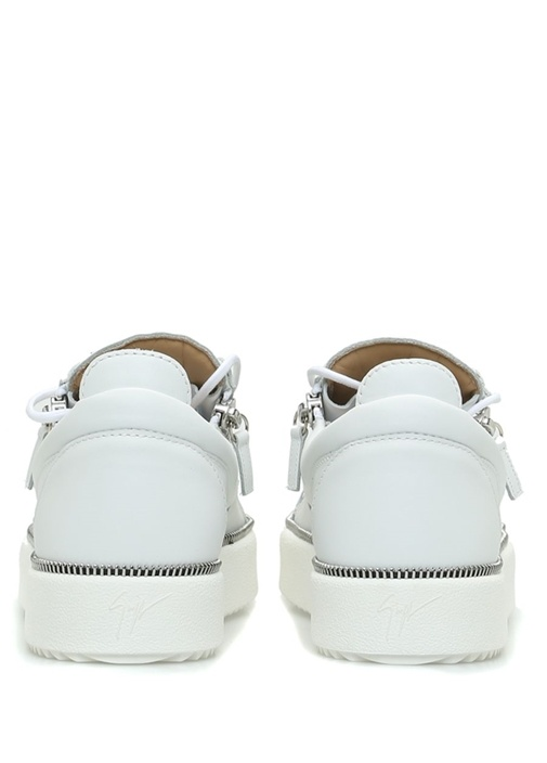 Beyaz Çift Fermuarlı Erkek Deri Sneaker