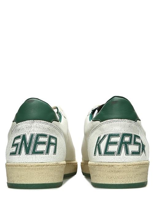 Ballstar Beyaz Yıldız Patchli Erkek Deri Sneaker