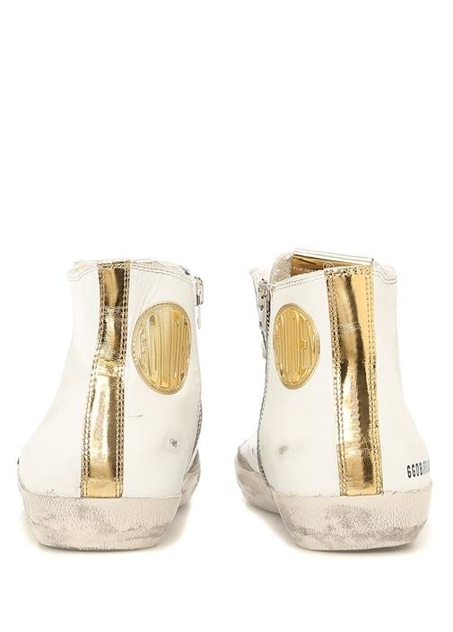Beyaz Gold Yıldız Patchli Kadın Deri Sneaker