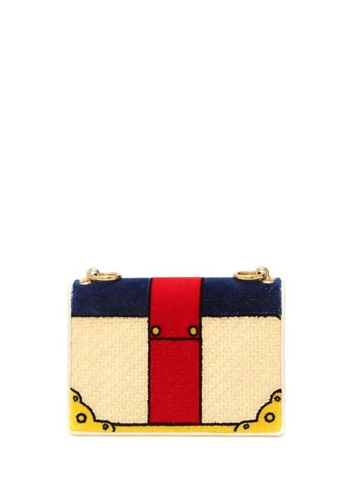 Bej Lacivert Kadife Detaylı Logolu Kadın Çanta