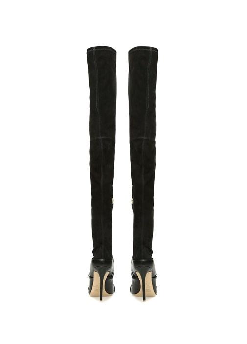 Madison Siyah İnce Şeritli Kadın Deri Çizme
