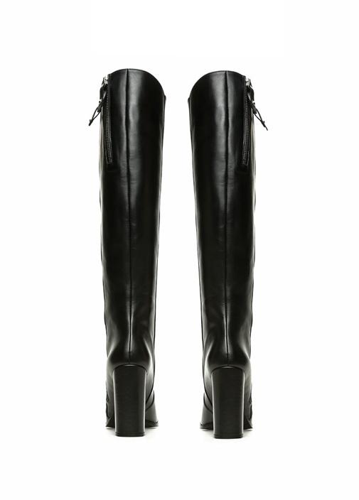 Siyah Kalın Topuk Kadın Deri Çizme