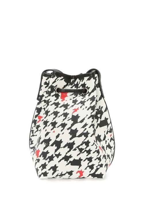 Beyaz Siyah Kazayağı Desenli Kadın Çanta