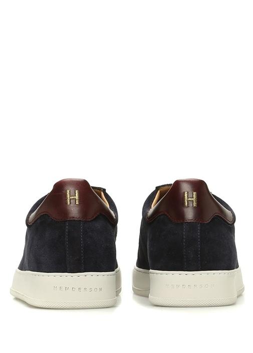 Lacivert Deri Detaylı Erkek Süet Sneaker