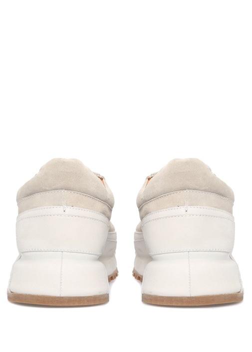 Ekru Garni Detaylı Erkek Deri Sneaker