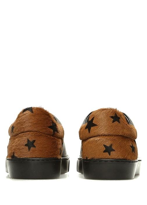 Siyah Topuğu Tüy Detaylı Kadın Deri Sneaker