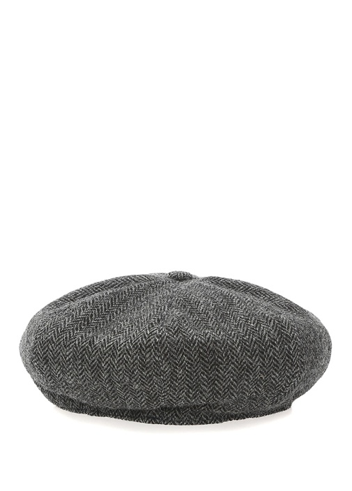 Antrasit Zikzak Desenli Erkek Yün Kasket Şapka