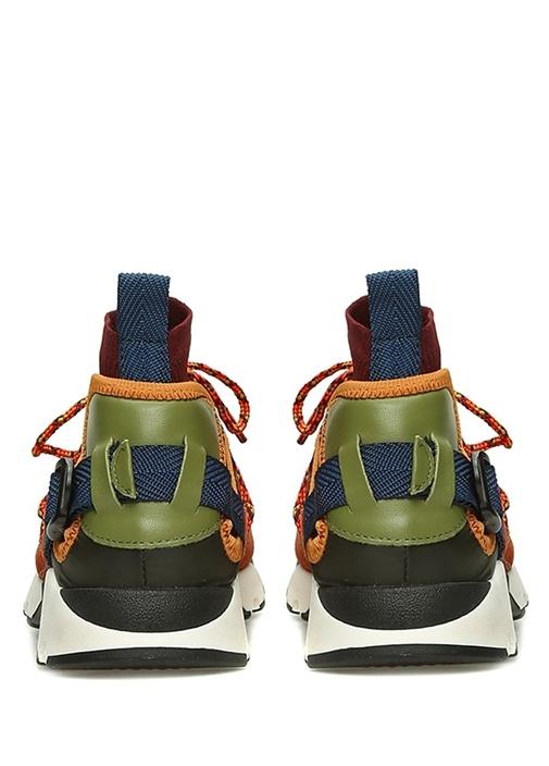 Bordo Garnili Çorap Detaylı Kadın Deri Sneaker