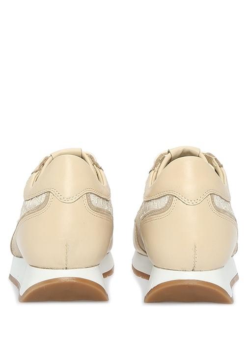 Bej Garni Detaylı Kadın Deri Sneaker