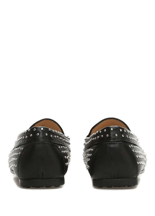 Siyah Silver Trok Detaylı Kadın Deri Loafer