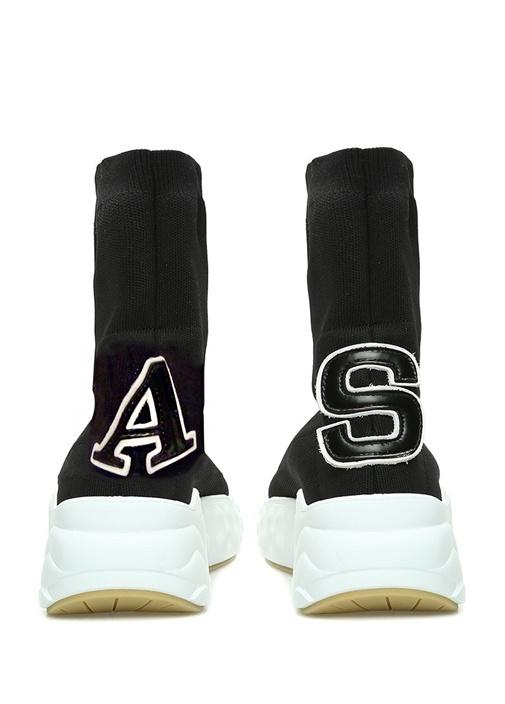 Siyah Patch Detaylı Kadın Çorap Formlu Sneaker