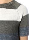 İç Elbiseli Çizgili İşlemeli Midi TrikoElbise