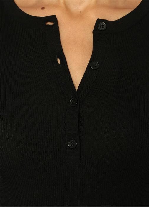 Siyah Yakası Düğmeli Truvakar Kol RibliKazak