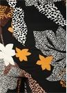 Siyah Afrikan Çiçek Desenli Bol Paça İpek Pantolon