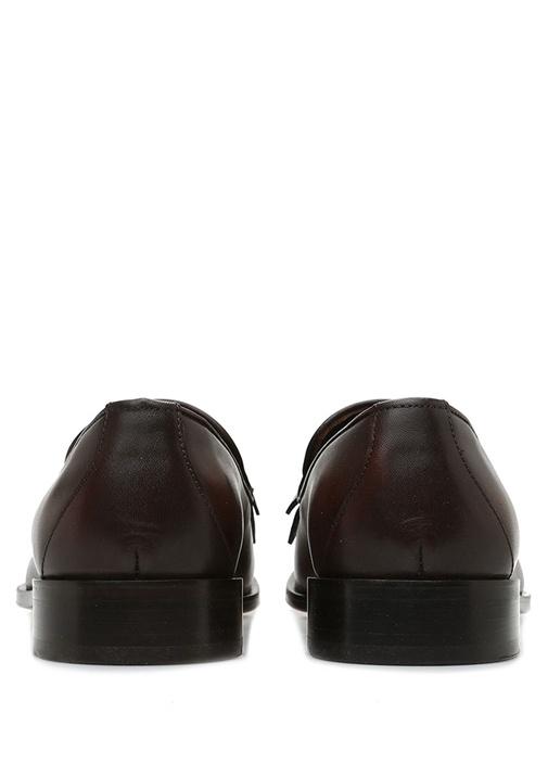 Kahverengi Püskül Detaylı Kadın Deri Loafer